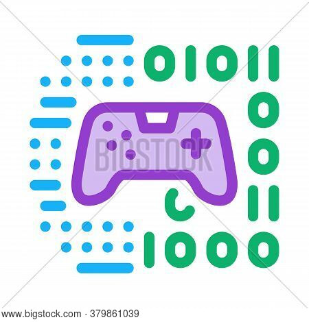 Game Development Binary Code Icon Vector. Game Development Binary Code Sign. Color Symbol Illustrati