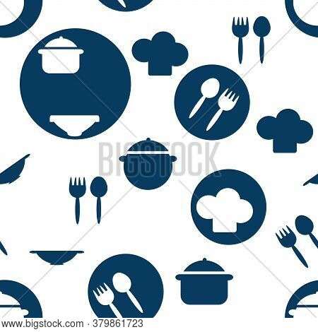Seamless Pattern Of Kitchen Utensils , Pot, Plate, Fork, Spoon. Hand Drawn Background For With Cutle