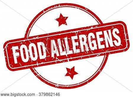 Food Allergens Grunge Stamp. Food Allergens Round Vintage Stamp