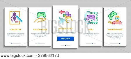 Video Game Development Onboarding Mobile App Page Screen Vector. Game Development, Coding And Design