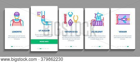 Drain Cleaning Service Onboarding Mobile App Page Screen Vector. Drain System Clean Equipment And Ag