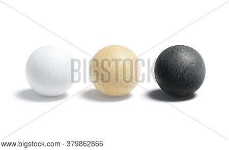 Blank Paper Black, White And Craft Ball Mockup Set, 3d Rendering. Empty Geometric Papery Form Mock U