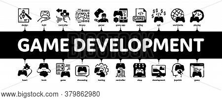 Video Game Development Minimal Infographic Web Banner Vector. Game Development, Coding And Design, D