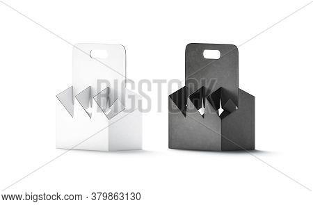 Blank Black And White Cardboard Bottle Holder Mockup, Half-turned View, 3d Rendering. Empty Disposab
