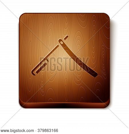 Brown Straight Razor Icon Isolated On White Background. Barbershop Symbol. Wooden Square Button. Vec