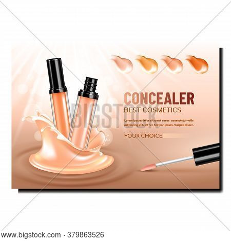 Concealer Facial Cosmetic Promo Poster Vector. Concealer Bottle, Brush And Different Color Smears Ad