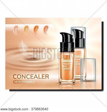 Concealer Tonal Cream Promotional Poster Vector. Concealer Blank Package Sprayer, Multicolor Creamy