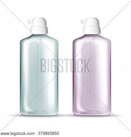 Bottle With Pump For Hygienic Hands Gel Vector. Empty Transparent Bottle For Sanitizer Protection Pr