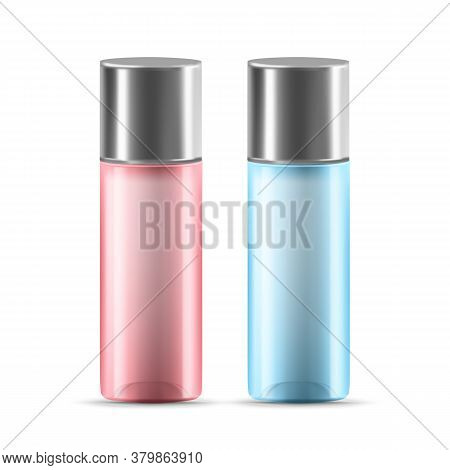 Lotion Or Gel Glass Container With Cap Vector. Blank Bottle Container For Skincare Moisturize Or Cle