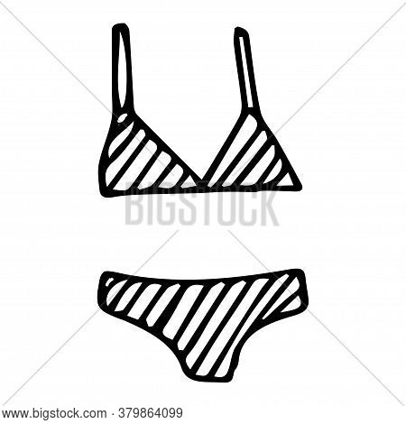 Doodle Drawing Split Striped Swimsuit, Bra And Briefs, Black Line On White Isolated Background, Summ