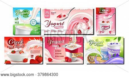 Yogurt Dairy Food Promotional Banners Set Vector. Yogurt Natural Classical Milky Nutrition With Stra