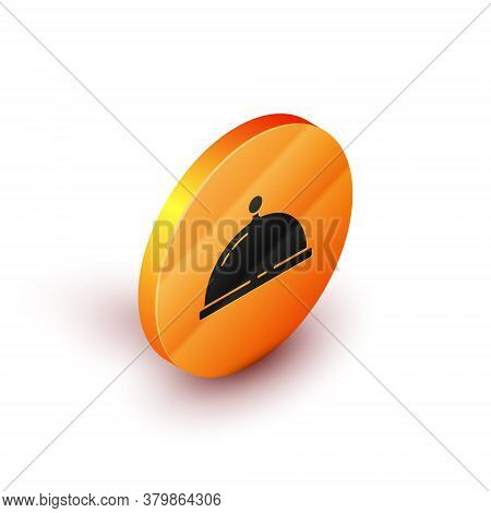 Isometric Covered With A Tray Of Food Icon Isolated On White Background. Tray And Lid. Restaurant Cl