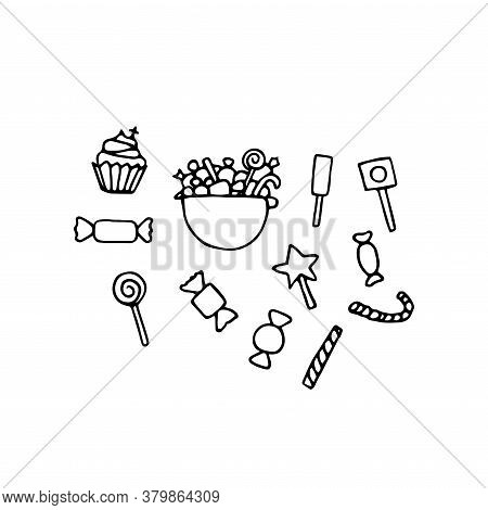 Set Of Vector Festive Doodle Sweets. Outline Candy, Cupcakes, Cakes, Candies, Peppermint Sticks Isol