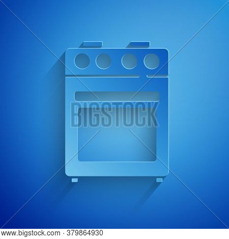 Paper Cut Oven Icon Isolated On Blue Background. Stove Gas Oven Sign. Paper Art Style. Vector