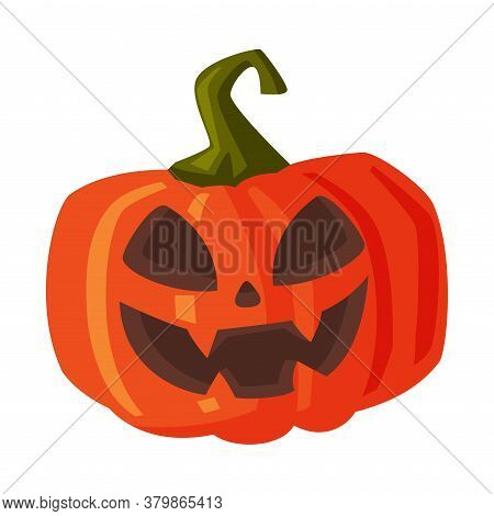 Halloween Scary Pumpkin With Smiling Face, Happy Halloween Object Cartoon Style Vector Illustration