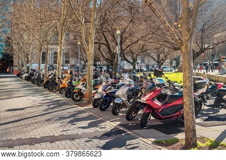 Adelaide, South Australia - August 13, 2019: Motorbikes Barked In A Row On Victoria Square In Adelai