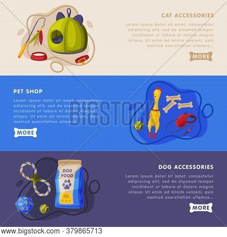 Cat And Dog Accessories, Pet Shop Landing Page Templates Set, Food, Toys, Accessories For Care Websi