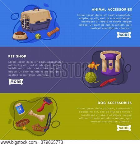 Animal Accessories, Pet Shop Landing Page Templates Set, Cat And Dog Food, Toys, Accessories For Car