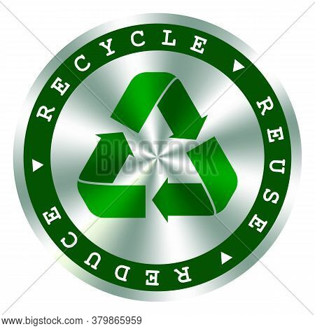 Recycle, Reuse, Reduce Green Hologram Icon, Arrows Symbol, . Save The Planet, Environmental Protecti