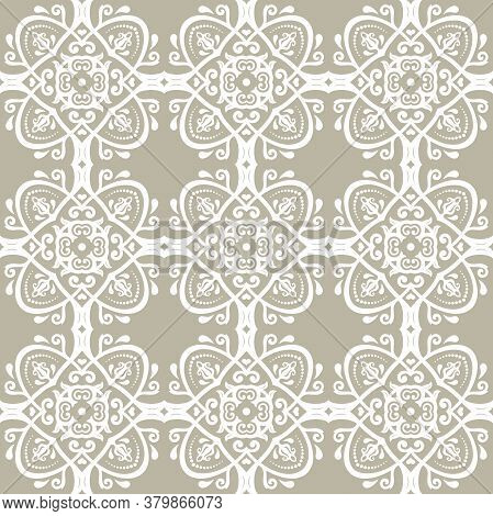 Orient Vector Classic Golden White Pattern. Seamless Abstract Background With Vintage Elements. Orie