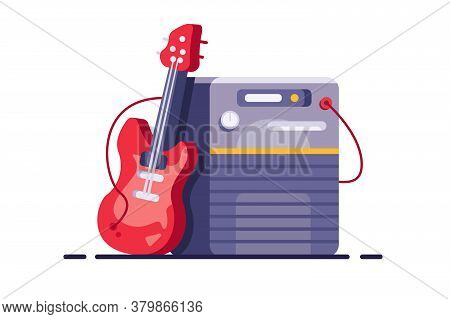 Guitar Amplifier With Speaker And Guitar In Flat Style.
