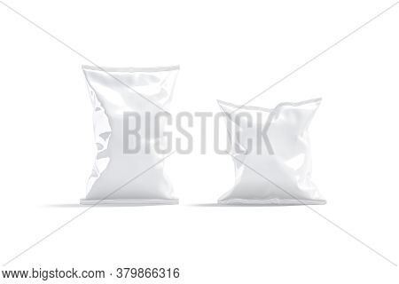 Blank White Foil Big And Small Chips Pack Mockup Stand, 3d Rendering. Empty Sealed Plastic Packaging