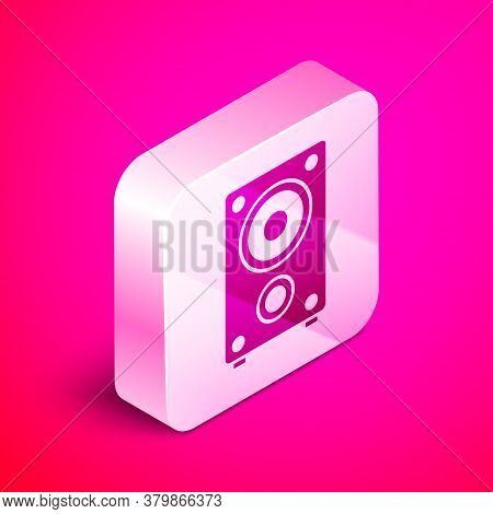 Isometric Stereo Speaker Icon Isolated On Pink Background. Sound System Speakers. Music Icon. Musica