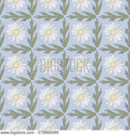 Vector Daisy Flowers In White Yellow Green On Blue Background Seamless Repeat Pattern. Background Fo
