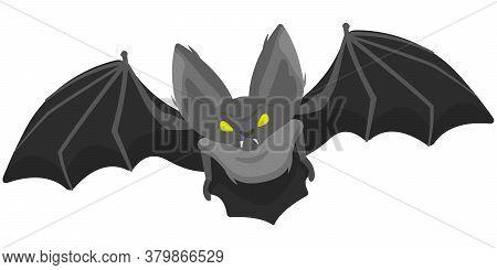 Bat In Cartoon Style. Scary Halloween Character.