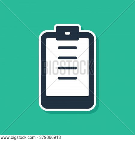 Blue Clipboard With Checklist Icon Isolated On Green Background. Control List Symbol. Survey Poll Or