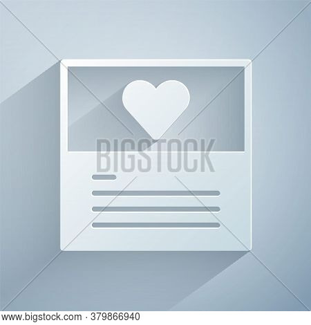 Paper Cut Greeting Card Icon Isolated On Grey Background. Celebration Poster Template For Invitation