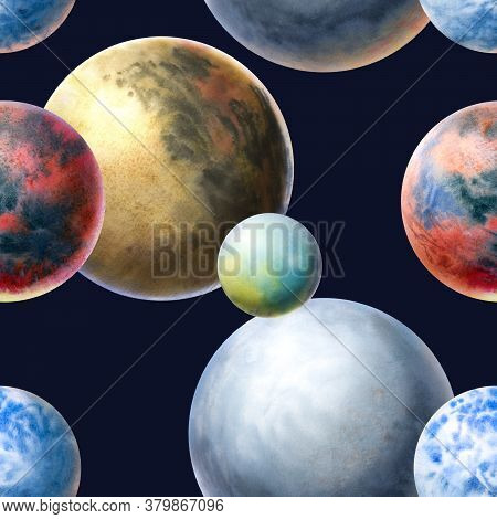 Drawn Planets Seamless Pattern. Planets Painted In Watercolor. Art Of The Planet.