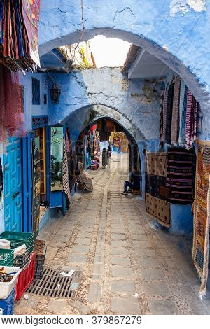 Chefchaouen, Morocco - October 26, 2018: View Of A Picturesque Street Of The Blue City With Local Pe