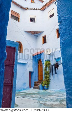 Traditional Morocco Architecture In The Blue City, Chefchaouen Medina, Morocco, North Africa.