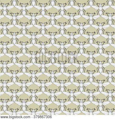 Vector Insects In Gray On Gold Background Seamless Repeat Pattern. Background For Textiles, Cards, M