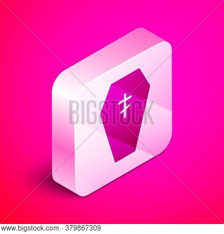 Isometric Coffin With Christian Cross Icon Isolated On Pink Background. Happy Halloween Party. Silve
