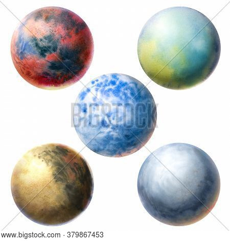 Planets Painted In Watercolor. Set Of Planets Different In Texture And Color. Volumetric Circles Tex