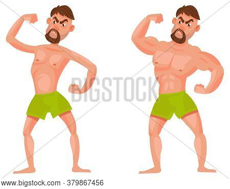 Man Before And After Going To Gym. Male Character Showing Muscles.