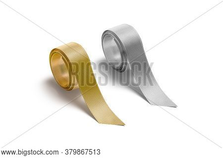 Blank Gold And Silver Rolled Silk Ribbon Mockup, Side View, 3d Rendering. Empty Decorate Inkle Or Ri