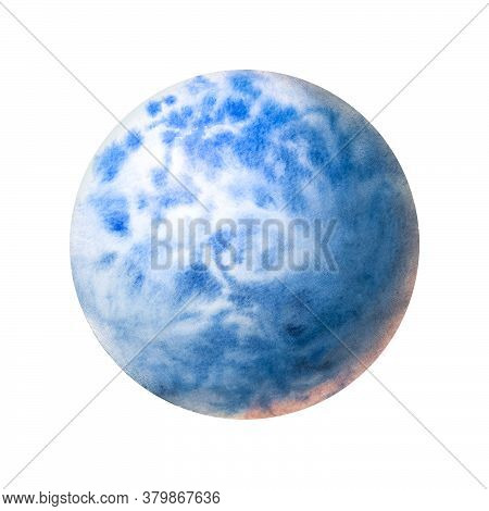 Planet Blue Painted In Watercolor On A White Background. Brush Drawing A Planet. The Texture In The