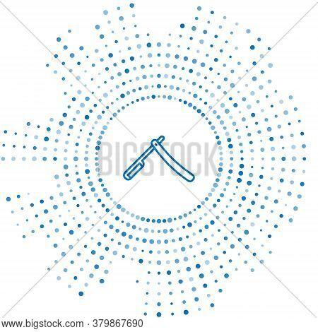 Blue Line Straight Razor Icon Isolated On White Background. Barbershop Symbol. Abstract Circle Rando