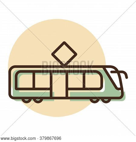 City Tram Flat Vector Icon. Graph Symbol For Travel And Tourism Web Site And Apps Design, Logo, App,