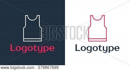 Logotype Line Sleeveless T-shirt Icon Isolated On White Background. Logo Design Template Element. Ve