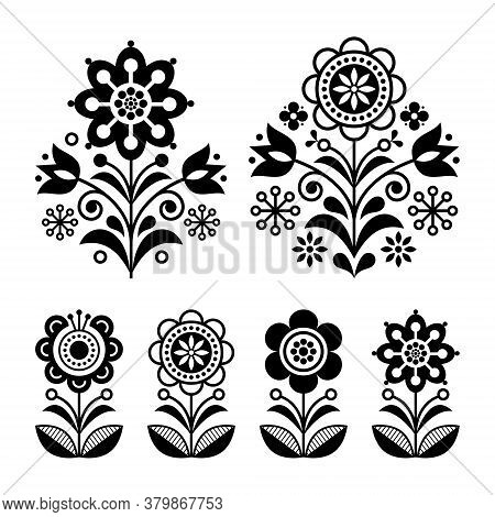 Scandinavian Flowers Design, Folk Art Decoration With Flowers, Nordic Retro Background In Black And