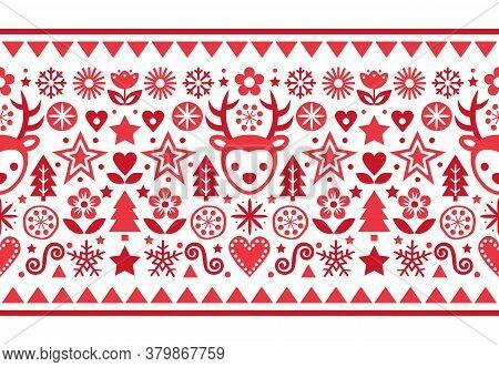 Christmas Scandinavian Folk Art Vector Red Seamless Pattern, Cute Festive Design With Reindeer, Snow