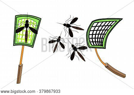 Mosquitoes And Swatter Isolated On White Background. Mosquito And Net Racket In Flat Style. Green Pa