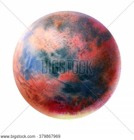 Abstract Red Planet Painted In Watercolor On A White Background. Brush Drawing A Planet. The Texture