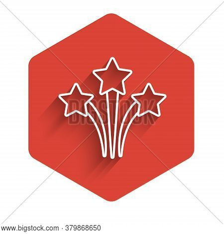 White Line Firework Icon Isolated With Long Shadow. Concept Of Fun Party. Explosive Pyrotechnic Symb