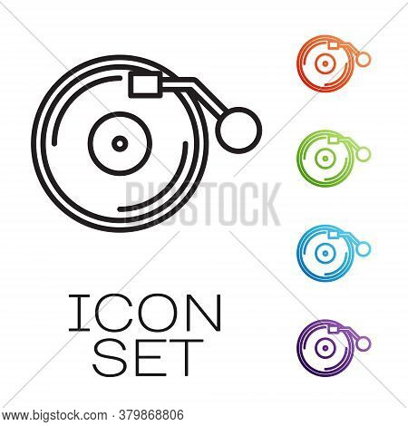 Black Line Vinyl Player With A Vinyl Disk Icon Isolated On White Background. Set Icons Colorful. Vec
