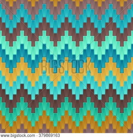 Universal Abstract Seamless Pattern Of Blue, Brown, Turquoise, Yellow Rectangles With Zigzag Tracery